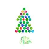 La tarjeta de felicitación de la Feliz Navidad y de la Feliz Año Nuevo, árbol de navidad hecho de acuarela circunda Árbol de Navi Imagen de archivo libre de regalías