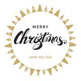 La tarjeta de felicitación de la Feliz Navidad y de la Feliz Año Nuevo con la mano dejó Fotografía de archivo libre de regalías