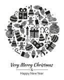 La tarjeta de felicitación de la Navidad con Feliz Navidad muy del texto y mucho invierno platea los juguetes Dimensión de una va Foto de archivo libre de regalías