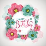 La tarjeta de felicitación del cumpleaños con los flores florece, illustratio del vector Foto de archivo
