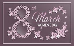 La tarjeta de felicitación del día del ` s de las mujeres con el papel cortó el ornamento Foto de archivo