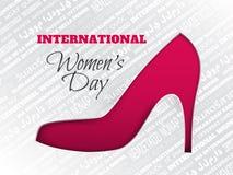 La tarjeta de felicitación del día del ` s de las mujeres con rosa cuted el zapato, fondo con palabra Imagenes de archivo