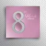 La tarjeta de felicitación del día del ` s de las mujeres cuted la plantilla rosada Foto de archivo