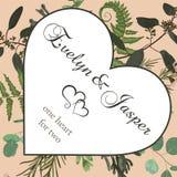 La tarjeta de felicitación de la tarjeta del día de San Valentín, invita a la tarjeta Hierbas del estilo de la acuarela del vecto libre illustration