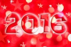 la tarjeta 2016 de felicitación en día de fiesta rojo enciende el fondo Foto de archivo libre de regalías