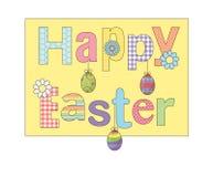 La tarjeta de felicitación feliz colorida de Pascua con los huevos de las flores y la suposición modelaron la fuente Para las tar Libre Illustration