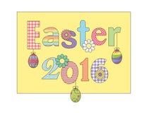La tarjeta 2016 de felicitación feliz colorida de Pascua con los huevos de las flores y la suposición modelaron la fuente Para la Libre Illustration