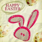 La tarjeta de felicitación feliz de Grunge pascua, conejito eggs