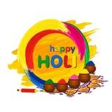 La tarjeta de felicitación feliz de Holi con los potes, pichkari y color tradicionales salpica Fotografía de archivo libre de regalías