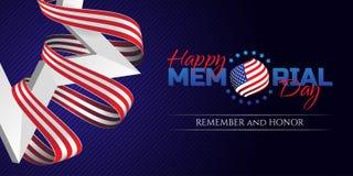 La tarjeta de felicitación feliz de Memorial Day con la bandera nacional colorea la cinta y la estrella del blanco en fondo oscur Foto de archivo libre de regalías
