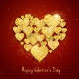La tarjeta de felicitación feliz del día del ` s de la tarjeta del día de San Valentín del vector con oro chispeante del brillo t libre illustration
