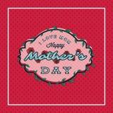 La tarjeta de felicitación feliz del día de madres con el flor florece en fondo punteado stock de ilustración