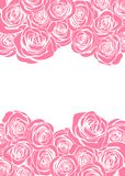 La tarjeta de felicitación feliz del rosa del día del ` s de la madre con las flores color de rosa enmarca la frontera ilustración del vector
