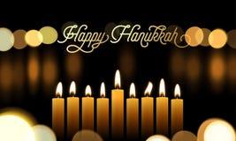 La tarjeta de felicitación feliz de Jánuca de la fuente de oro y las velas para el día de fiesta judío diseñan el fondo FE de las ilustración del vector