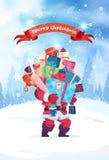 La tarjeta de felicitación de la Feliz Navidad Santa Holding Heap Of Gift encajona el fondo de la decoración del día de fiesta ilustración del vector