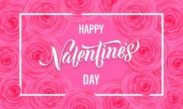 La tarjeta de felicitación floral del día de San Valentín feliz de rosas rosadas modela el texto del fondo y de las letras Diseño Imagen de archivo