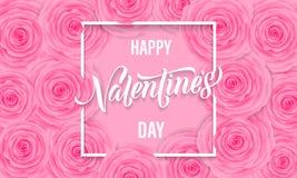 La tarjeta de felicitación floral del día de tarjetas del día de San Valentín de rosas rosadas modela el texto del fondo y de las Foto de archivo
