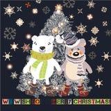 La tarjeta de felicitación de la Navidad o del Año Nuevo con la mano dibujada adornó Xm stock de ilustración