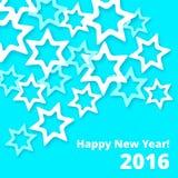 La tarjeta de felicitación del Año Nuevo con el efecto de papel diferente coloreó las estrellas Imagen de archivo libre de regalías