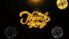 La tarjeta de felicitaciones de los deseos de la acción de gracias, invitación, fuego artificial de la celebración colocó