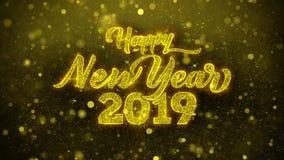 La tarjeta de felicitaciones de los deseos del Año Nuevo 2019, invitación, fuego artificial de la celebración colocó