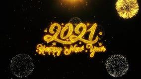La tarjeta de felicitaciones de los deseos del Año Nuevo 2021, invitación, fuego artificial de la celebración colocó stock de ilustración