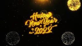 La tarjeta de felicitaciones de los deseos del Año Nuevo 2022, invitación, fuego artificial de la celebración colocó ilustración del vector