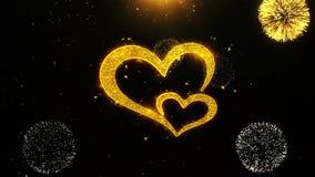 La tarjeta de felicitaciones de los deseos del coraz?n del amor de d?a de San Valent?n, invitaci?n, fuego artificial de la celebr stock de ilustración