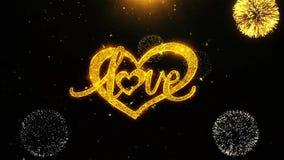La tarjeta de felicitaciones de los deseos del corazón de día de San Valentín del amor, invitación, fuego artificial de la celebr stock de ilustración