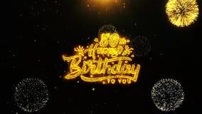 la 50.a tarjeta de felicitaciones de los deseos del feliz cumpleaños, invitación, fuego artificial de la celebración colocó