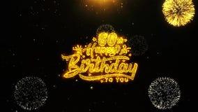 la 60.a tarjeta de felicitaciones de los deseos del feliz cumpleaños, invitación, fuego artificial de la celebración colocó