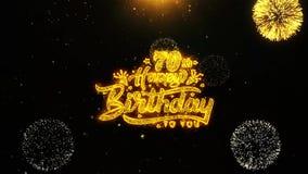 la 70.a tarjeta de felicitaciones de los deseos del feliz cumpleaños, invitación, fuego artificial de la celebración colocó