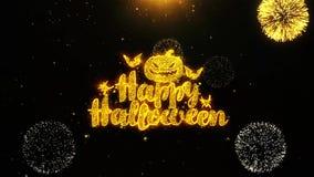 La tarjeta de felicitaciones de los deseos del feliz Halloween, invitación, fuego artificial de la celebración colocó