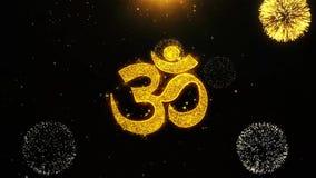 La tarjeta de felicitaciones de los deseos del shiva de OM o del aum, invitación, fuego artificial de la celebración colocó
