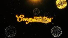 La tarjeta de felicitaciones de los deseos de la enhorabuena, invitación, fuego artificial de la celebración colocó
