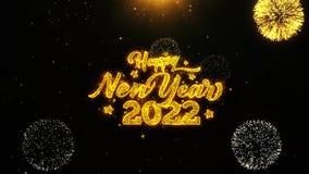 La tarjeta de felicitaciones de los deseos de la Feliz Año Nuevo 2022, invitación, fuego artificial de la celebración colocó ilustración del vector