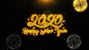 La tarjeta de felicitaciones de los deseos de la Feliz Año Nuevo 2020, invitación, fuego artificial de la celebración colocó libre illustration