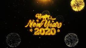 La tarjeta de felicitaciones de los deseos de la Feliz A?o Nuevo 2020, invitaci?n, fuego artificial de la celebraci?n coloc? stock de ilustración