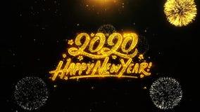 La tarjeta de felicitaciones de los deseos de la Feliz A?o Nuevo 2020, invitaci?n, fuego artificial de la celebraci?n coloc? ilustración del vector