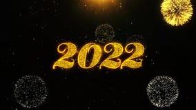 La tarjeta de felicitaciones de los deseos de la Feliz A?o Nuevo 2022, invitaci?n, fuego artificial de la celebraci?n coloc? stock de ilustración