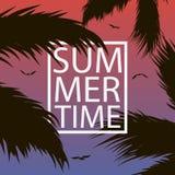 La tarjeta de fichar del verano con las palmeras hojea, gull y enmarca Fondo para la bandera, cartel, postal, cubierta, folleto V stock de ilustración