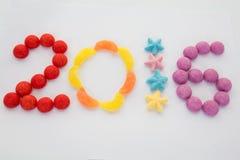 La tarjeta de 2016 hace con los caramelos Foto de archivo libre de regalías