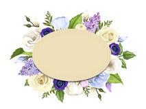 La tarjeta de la cartulina con las rosas azules, púrpuras y blancas, los lisianthuses, las anémonas y la lila florece Vector EPS- Imagenes de archivo
