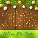 La tarjeta de la Feliz Año Nuevo con Año Nuevo se enciende Imagenes de archivo