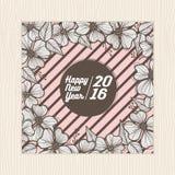 La tarjeta de la Feliz Año Nuevo y la plantilla del cartel con la flor enmarcan vector del fondo Imagen de archivo
