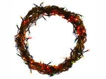 La tarjeta de la plantilla del día de fiesta de la Feliz Año Nuevo y de la Feliz Navidad con la guirnalda circunda el marco Imágenes de archivo libres de regalías
