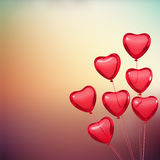 La tarjeta de la tarjeta del día de San Valentín con los globos de la forma del corazón Fotografía de archivo libre de regalías