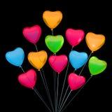 La tarjeta de la tarjeta del día de San Valentín con los globos de la forma del corazón Lugar para el texto Fotografía de archivo