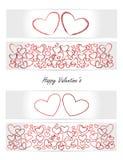 La tarjeta de la tarjeta del día de San Valentín - corazón - conjunto de las banderas de los vectores, tarjetas, boletos Fotos de archivo libres de regalías
