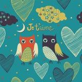 La tarjeta de la tarjeta del día de San Valentín. Pares de los búhos. Foto de archivo libre de regalías